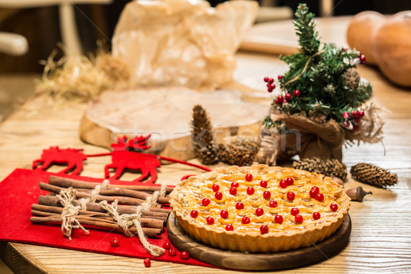 Ev yapımı Noel kek karpuzu sığ Stok fotoğraf © sarymsakov