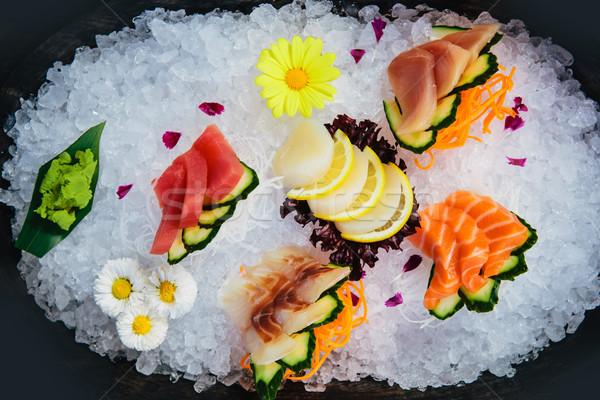 Fraîches brut sashimi glace plaque Photo stock © sarymsakov
