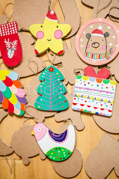 Karton játékok karácsonyfa girland új év díszítések Stock fotó © sarymsakov