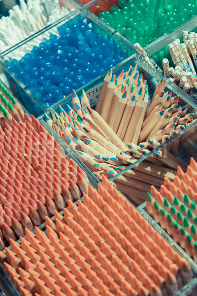 Background of colored pencils for creativity closeup Stock photo © sarymsakov