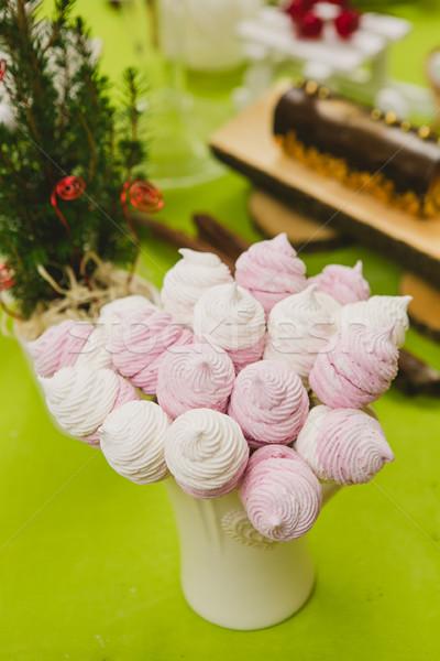 Házi készítésű rózsaszín fehér mályvacukor finom édes Stock fotó © sarymsakov