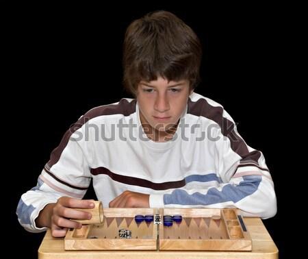 Jongen tekening foto artistiek jonge man kinderen Stockfoto © sbonk