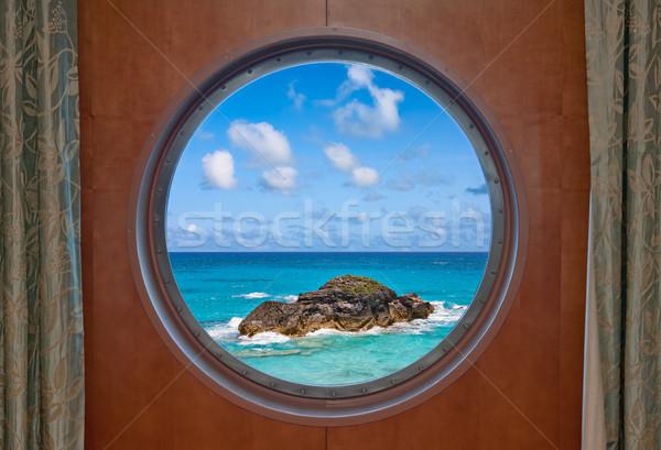 Ocean and Rock Through Porthole Stock photo © sbonk