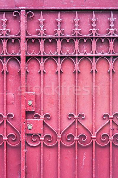 赤 ゲート ロック キー 金属 フェンス ストックフォト © sbonk
