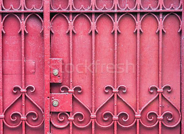 Czerwony bramy blokady kluczowych metal ogrodzenia Zdjęcia stock © sbonk