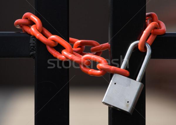 ロック チェーン 南京錠 周りに フェンス キー ストックフォト © sbonk