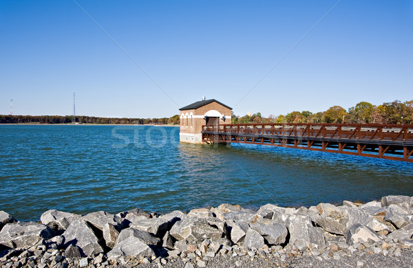 водохранилище пирс здании воды пейзаж деревья Сток-фото © sbonk