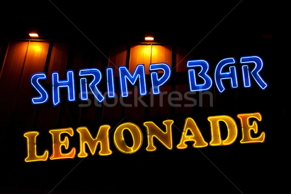 Karides bar limonata neon restoran Stok fotoğraf © sbonk