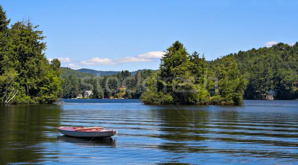 Сток-фото: горные · озеро · гор · небольшой · лодка · передний · план