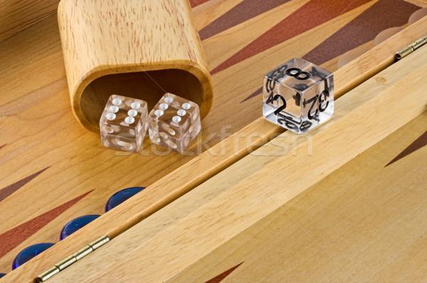 Foto stock: Bordo · rodar · doble · madera · cuadro · dados