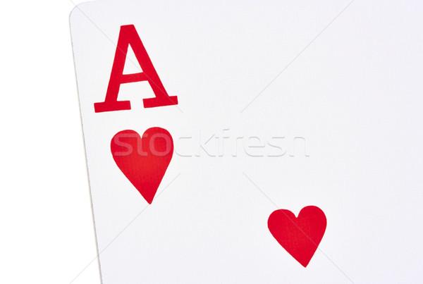 ász szívek játszik kártya fehér szív Stock fotó © sbonk