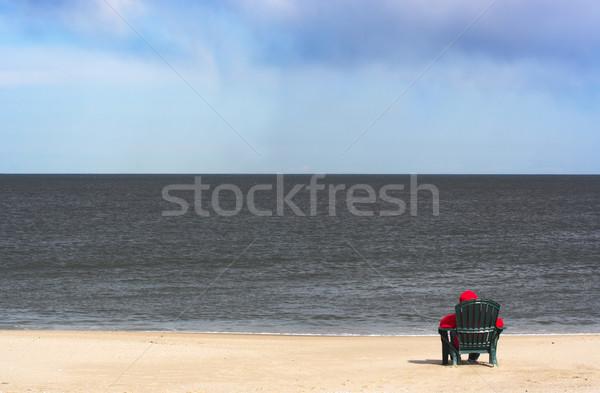 だけ ビーチ 小さな 人 赤 ストックフォト © sbonk