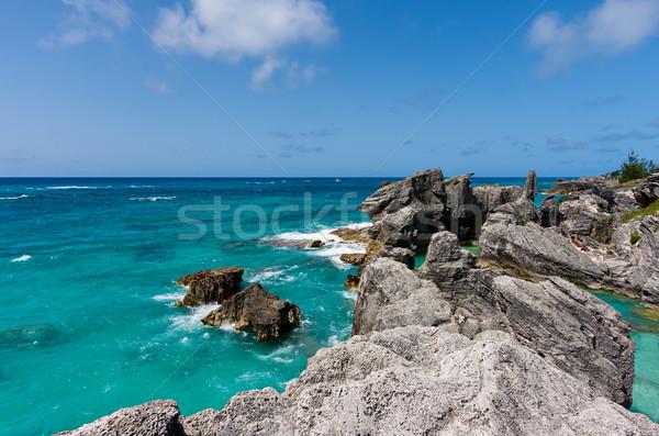 Patkó tájkép óceán kő égbolt természet Stock fotó © sbonk