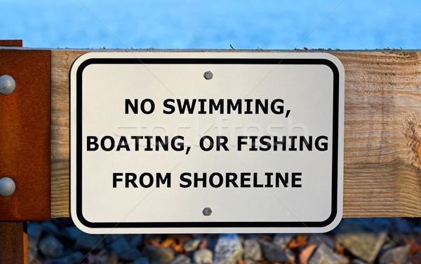 Geen zwemmen spelevaren vissen teken reservoir Stockfoto © sbonk