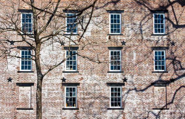 Oude baksteen gebouw dorp New Jersey ijzer Stockfoto © sbonk