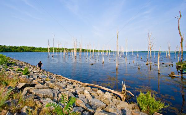 водохранилище мальчика походов красивой Нью-Джерси небе Сток-фото © sbonk