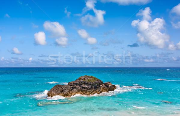 Stockfoto: Oceaan · rock · hoefijzer · water · wolken · natuur