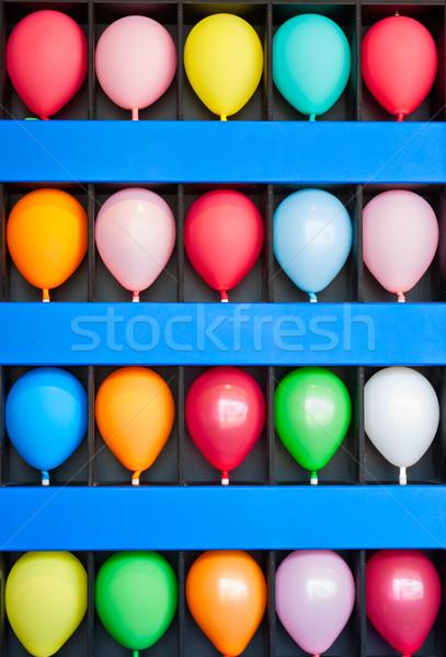 Muur ballonnen Blauw geval kleurrijk foto Stockfoto © sbonk