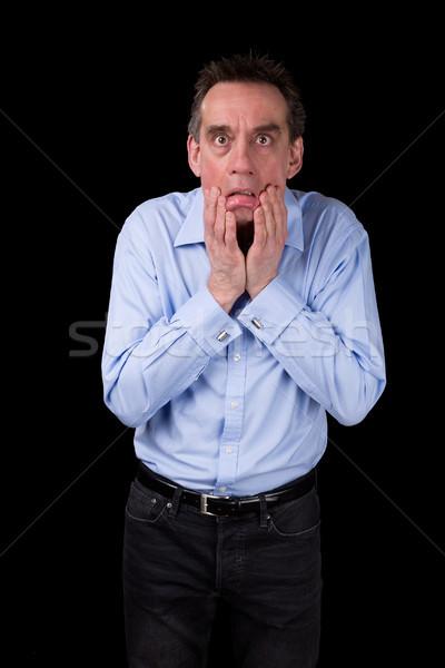 Megrémült megrémült üzletember húz arc középső Stock fotó © scheriton