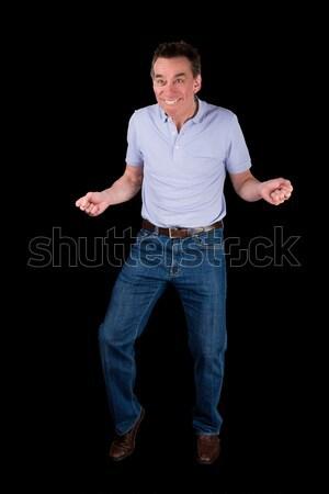 Középső kor férfi vicces tánc póz Stock fotó © scheriton