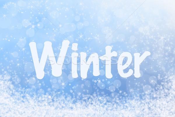 Kış metin gökyüzü mavi kar doku Stok fotoğraf © scheriton