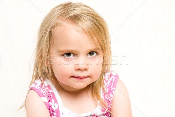 Headshot Portrait of Beautiful Mischevious Toddler Girl Stock photo © scheriton