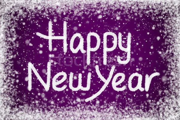 Feliz ano novo texto roxo neve mensagem festa Foto stock © scheriton
