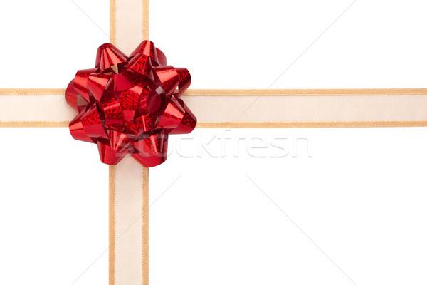 Ajándék csomagolás arany szalag piros fényes Stock fotó © scheriton