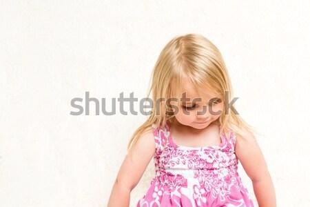 Portrait of Beautiful Toddler Girl Looking Down Stock photo © scheriton
