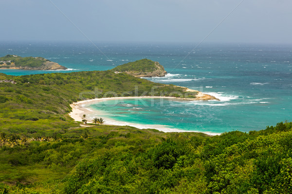 Tropical Deserted Beach in Half Moon Bay Antigua Stock photo © scheriton