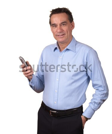 Business Man in Blue Shirt Looking at Phone with Horror Stock photo © scheriton