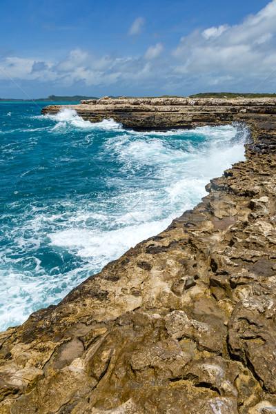 Photo stock: Calcaire · pont · eau · nuages · paysage