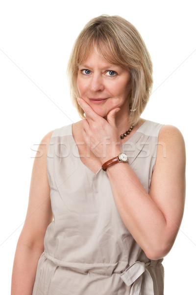 Woman with Hand to Face in Thought Stock photo © scheriton