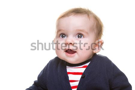 Beautiful Happy Baby Girl in Blue White Red Outfit Stock photo © scheriton