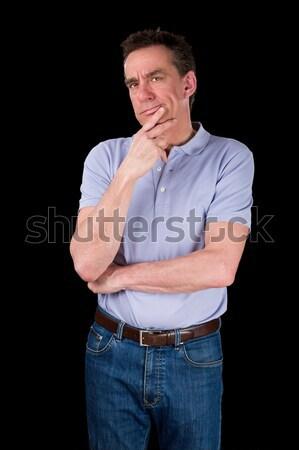 Karışık adam el çene orta yaş Stok fotoğraf © scheriton