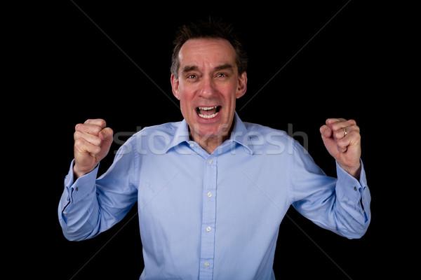 Mérges kiált üzletember középső kor üzlet Stock fotó © scheriton
