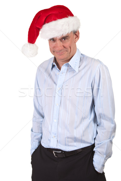 Handsome Business Man in Santa Christmas Hat with Cheeky Grin  Stock photo © scheriton