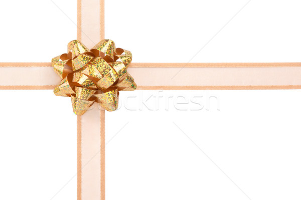 Gift Wrap with Gold Ribbon and Sparkly Bow Stock photo © scheriton
