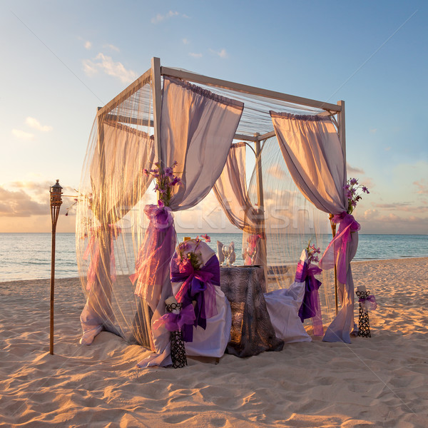Stock photo: Romantic Wedding Table on Sandy Tropical Beach at Sunset