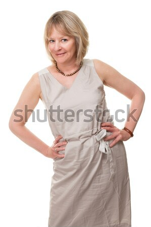 Happy Smiling Woman with Hands on Hip Stock photo © scheriton