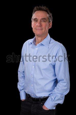 Portrait of Handsome Smiling Business Man in Blue Shirt Stock photo © scheriton