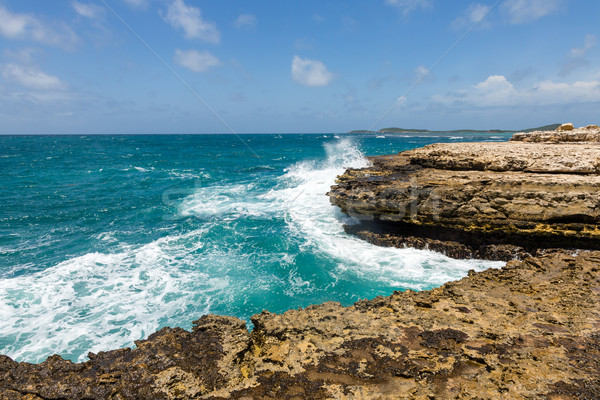 Devil's Bridge Antigua Waves Crashing on Coastline Stock photo © scheriton
