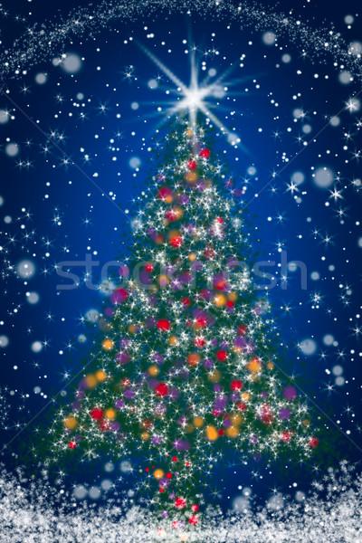 Sparkly Christmas Tree on Blue Starry Night Sky Stock photo © scheriton