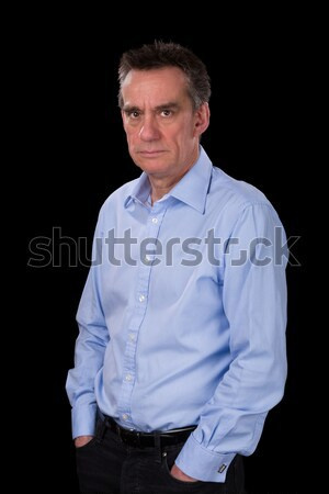 Angry Frowning Middle Age Business Man in Blue Shirt Stock photo © scheriton