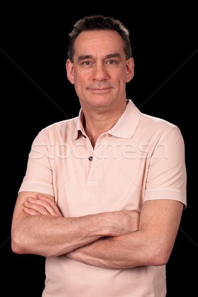 Portré mosolyog férfi lezser ruházat karok Stock fotó © scheriton