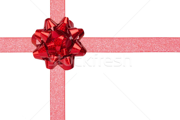 Gift Wrap with Red Sparkly Ribbon and Shiny Bow Stock photo © scheriton