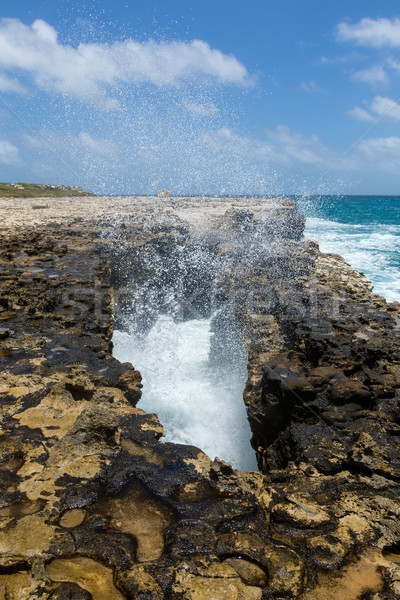 Waves Crashing through Rocky Opening Stock photo © scheriton