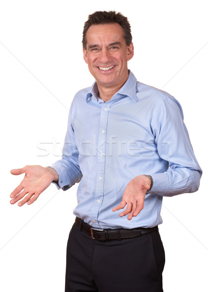 Smiling Business Man in Blue Shirt with Open Hands Stock photo © scheriton