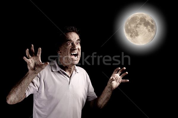 Ijesztő férfi farkasember bestia telihold halloween Stock fotó © scheriton