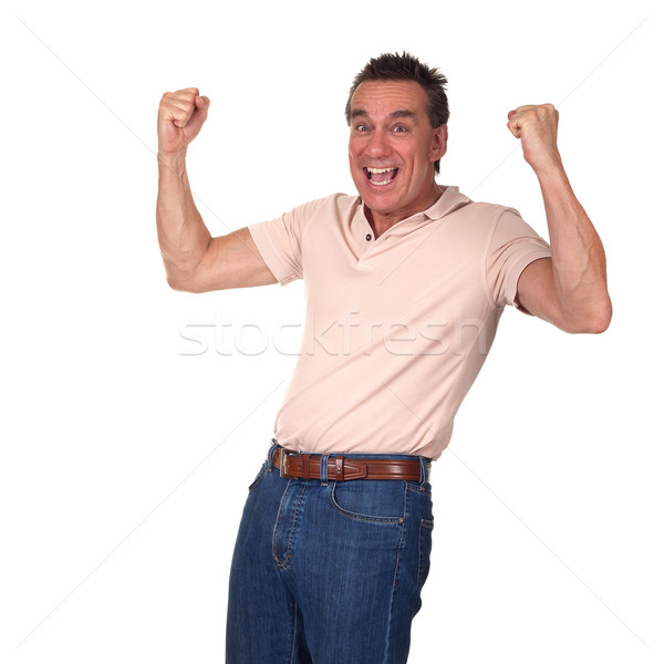 Happy Excited Man Punching Air with Fists Stock photo © scheriton